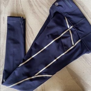 Athleta Blue leggings with Zipper Sz XS